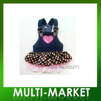 Free shipping/New Pet Clothes Dog lovely Lace Heart Apparel Clothes Costume Jeans Dress Skirt