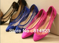 2013 new canvas wave edge stitching perspective mesh hollow pointed flat women shoes Exclusive custom freeshipping