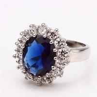 Free shipping wholesale Big Blue Natural Stones Ring Plating 18K Platinum Fashion Tibetan Enamel Jewelry Wedding Rings 18KR027