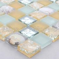 [Mius Art Mosaic] Matt  brown color mix crystal mosaic  & resin mosaic  tiles with real shell for kitchen backsplash  C6G141