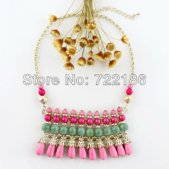 2014 New Coming Fashion Bohemian Style And Tassel Colorful Rhinestone  Statement Necklace  for Women