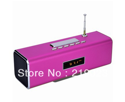 Portable speaker --TT2B with clock function,FM radio,CE,RoHS-Pink(China (Mainland))