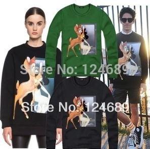 Free shipping Chinese Size M-4XL Brand sweater fashion printed skateboard o-neck sweatshirt Deer Bambi printed sweater 8 color