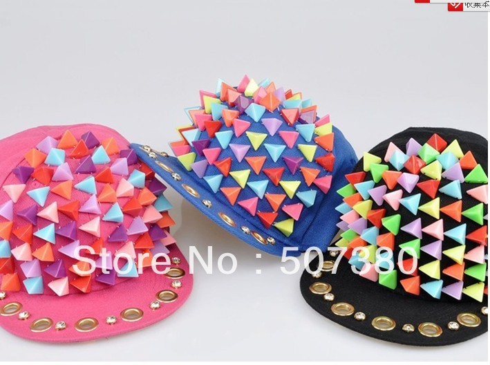 Pink Studded Caps Pyramid Rivet Baseball Hat Adjustable Hedgehog Caps Men Snapback Cap Women Punk Hats Colorful Spike Studs Hat(China (Mainland))