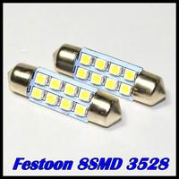 100pcs/lot 31mm/36mm /39mm / 41mm 1210 /3528  8 SMD Car Auto Interior 8 LED 3528 SMD Light  White Festoon Dome Lamp Bulb