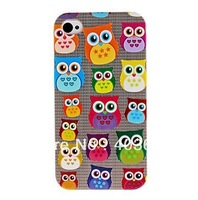 Free Shipping Cute Owl Pattern Hard Back Cover Case for iPhone 4/4S