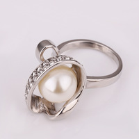 Wholesale Vintage Engagement Ring Plating 18K Platinum High Quality Pearl Crystal Rings Women Accessories Gypsy Jewelry 18kr158