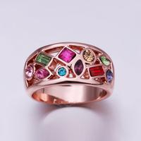 Last Kings Natural Stone Emerald Ring Wedding Rings 18K Rose Gold Plating Rhinestone Crystal Fashion Jewelry 18krgpr250