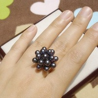Mini Order 15 Free Shipping(10pcs/lot) Vintage Classic  Freshwater Pearl Ring, Size Adjustalbe
