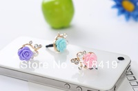 20pcs/lot  Free Shipping  New Arrival  3.5mm Metal Alloy Rose Flower   Rhinestone   Earphone Jack  Plug   Dust Plug