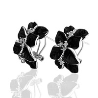 Hot Sales! Cheap promotional Black Leaf 18K Platinum Plated Earrings Fashion Jewelry Nickel Free 18KGP E017