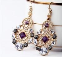 Wholesale Vintage Women Alloy Rhinestone Drop Earrings Jewerly
