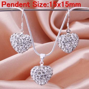 low price white clear heart pendant earring necklace women jewelry sets 925 silver heart shamballa set
