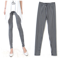 Free shipping 2013 wholesale milk silk printed houndstooth Graffiti Leggings Elastic nine