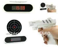 Free shipping 1Set Gun Alarm Clock / Shoot Alarm Clock / Gun O'Clock - White