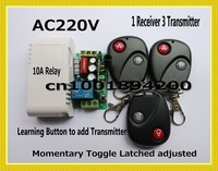 Radio Remote Control Switches AC220V Lighting Control Power Switch 1Receiver 3Transmitter A ON B OFF Learning Code 315/433MHZ