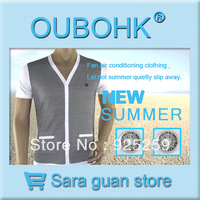 Air Condition Clothing Cooling Clothing With Rear Two Fans Charger Power Battery For Hot Enviroment Free Shipping Oubohk