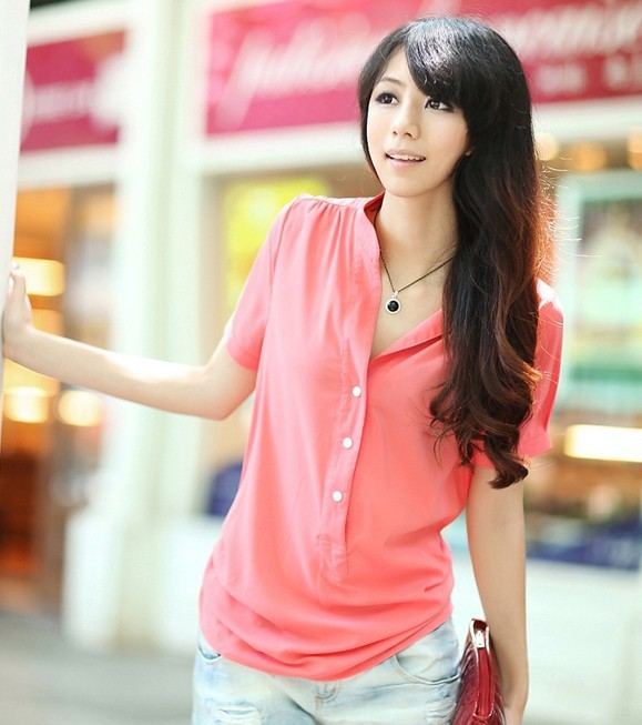 CPAM OR EMS blouse 2013.5.24WFD-74 S, M,L,XL,2XL,3xl, 4xl white green black red blue chiffon(China (Mainland))