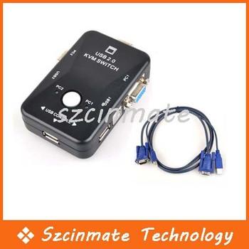 2 Port USB 2.0 KVM Switch with 2 Sets Cables 10pcs/lot Wholesale
