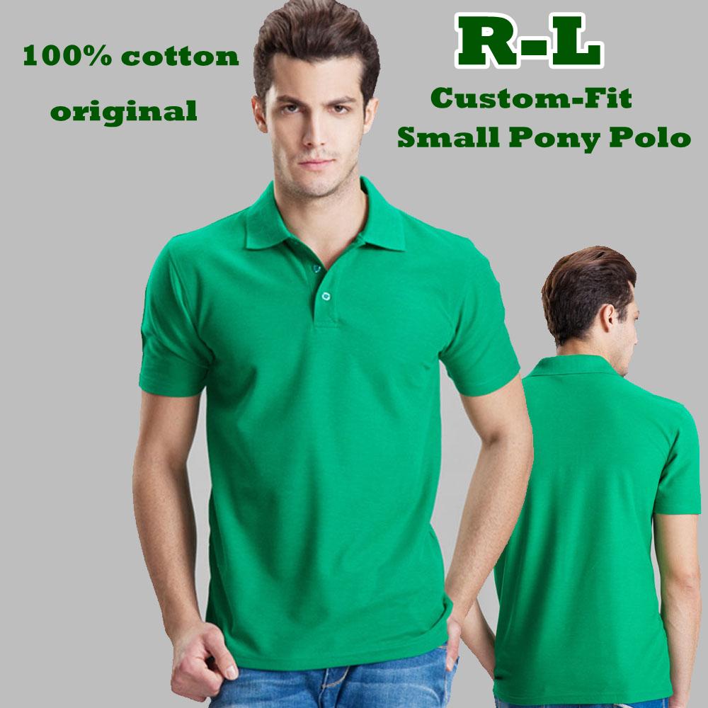 BNWT R-L Men Custom-fi Mesh Small horse Logo original tshirt/Short-Sleev men Golf/100% cotton,original casual brand shirts(China (Mainland))