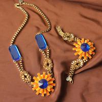 Wholesale Fashion Jewelry Sets Costume Sun Flower Blue Rhinestone Necklace Bracelet Designer 2013 New Free Shipping