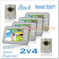 """Newest style 8"""" color video intercom system door phone/doorbell (Unlock,Handsfree,Night vision) 2 outdoor units + 4 indoor units"""