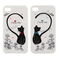Pair Lovely Cat Lovers Case Skin Cover for Phone Apple iPhone 4S