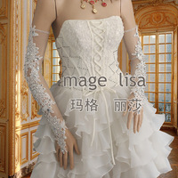 Super Sexy hand-beaded with Bright Rhinestones fingerless long Bridal Gloves for wedding Prom
