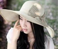 FREE  Vintage Straw Derby Cap Womens Flax Bow Wide Large Brim Summer Beach Sun Hat