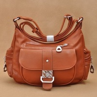 Freeshipping new 2014 fashion women leather handbags multi-pocket casual vintage women handbag messenger bag shoulder bag