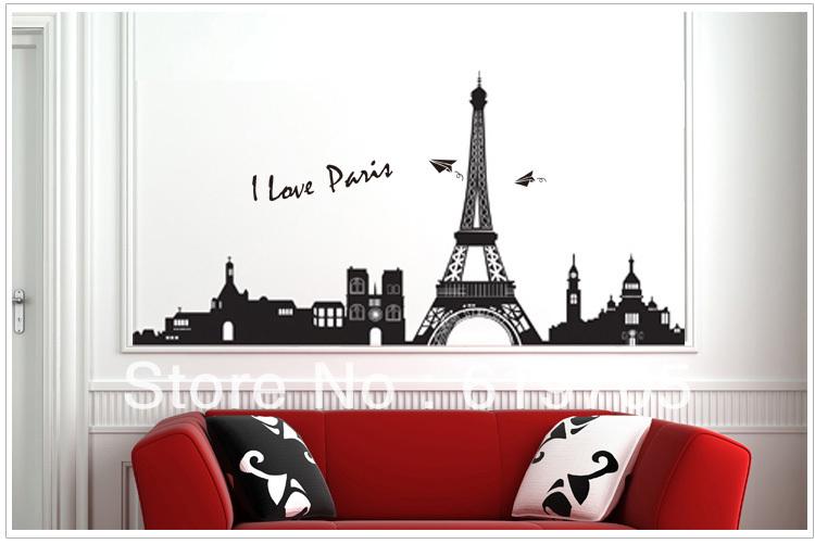 Free Shipping Big Black Eiffel Tower Paris Wall Sticker Art Mural Vinyl Wall Decal 200x68cm