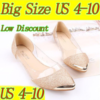 Good Quality Big size ! 2013 New Fashion Pointed Toe Metal Bordered Flats Shoes Europe Hyaline Glitter Women Shoes Free Shipping
