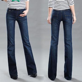 Женщины's slim Средний Талия boot cut Джинса Модный bell Низ trousers comfortable ...