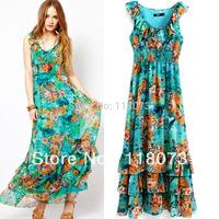 2013 New Fashion Long Summer Dress Women Chiffon Porcelain Print Vestidos Casual Maxi Bohemian Dress Free Shipping