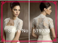 Free Shipping Hot Sale White Short Sleeve Bridal Shrug Wrap Party Cape Lace Ivory Wedding Jacket Wedding Bolero