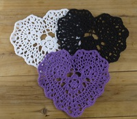 Valentine's Day gift Crocheted Doilies Placemats Purple Cup Mat table cloth Heart-shaped Wedding decorations 20PCS/LOT