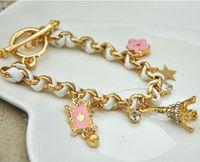 2013 New Arrival Free Shipping Stars Flowers Hearts Shape Poker Crystal Bracelet Women Leather Cord Eiffel Tower bracelet BL0103