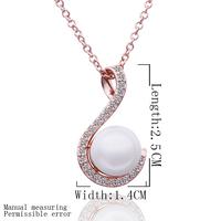 Wholesale Women Perfume Bijoux Pearl Pendant Luxury Necklace 18K gold Plated Rhinestone Crystal  Fashion Jewelry 18KGP N556