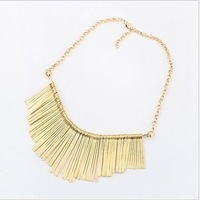 Min.order is $15 (mix order) Free shipping New Arrival Fashion Gold Tassels lady short Necklace Personality jewelry