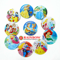 Wholesale Photo Color/Snow White Backpack Accessories/Princess tin Badges/Kids Gift Pin Badge 25mm 108pcs/lot Free Shipping