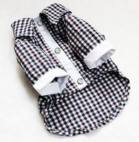 Fashion Good Dog Pet Clothes Apparel Black Cotton Plaids Shirt Free Shipping Size XXS-XL