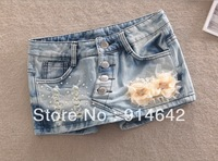 2013 the new fashion women's denim shorts of cultivate one's morality, beaded denim skirts pants Free Shipping.015