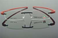 TR-90 Eyeglass Frames Men's & Women Red Black RIMLESS Glasses Optic Eyeglasses Prescription Frame T5042
