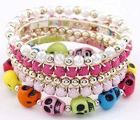 freeship 3pcs/lot elastic multilayrered skull bracelet/artificial turquoise stone bracelet/pearl bracelet/resin diamond bracelet