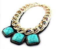 Free Shipping Fashion Chunky Gold Chain Square Resins Stone Leather BackBib Statement Choker Necklaces