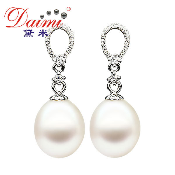 DAIMI Pearl Earring Silver 925 Cultured Freshwater For Female Best Christmas Gift Free Shipping [Angel Tears](China (Mainland))
