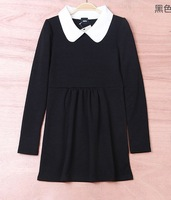 Hot sale 2013 autumn pure cotton peter pan collar  Full-sleeve dress women  Free shipping #C0298