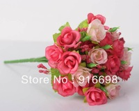 Free Shipping  Mixed-Wholesale 7 branches 9inch  silk small Rose Artificial  Flower Bouquet  for Wedding home Decoration
