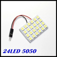 Free shipping T10  Festoon 2 Adapters 24 SMD 5050 white Light 12V LED reading Panel Car interior Dome light