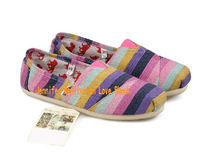 Wholesale Flat Espadrilles Stripe Women Canvas Shoes Leisure Sneaker+Free Shipping
